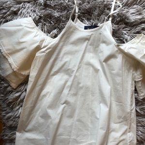 Off the shoulder white linen top